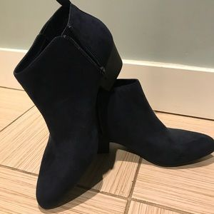 Navy ankle booties.